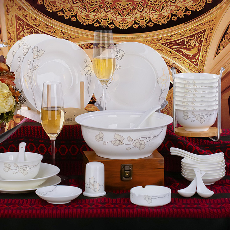 Jingdezhen Authentic Bone China Tableware Suit Bowl Steamed Rice Bowl Set Jingdezhen Dishes Set(China (Mainland))