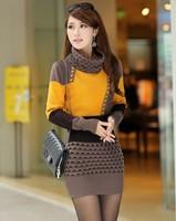 2014 Korean Women Long Sleeve Split Dresses Turtle Neck Elegant Knitted Sweater Dress Bodycon Elegant High Street vestido
