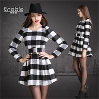 Brand Soft Women Wool Dress 2015 Spring Winter Long Sleeve Slim A-line Black White Plaid Slim Mini One Piece Dress With Belt