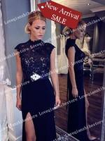 New Fashion Trend Split Design Classic Noble Temperament Evening Dress For Women Short Sleeve Floor Length Long Dress Lace Dress