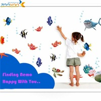 3d movie sticker finding nemo wall decals nursery removable mural art cartoon stickers zooyoo617 45*60 diy colorful sea fish