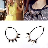 New fashion western style Weave Silk thread exaggerated Triangle big  gem Choker chain Necklace 65437