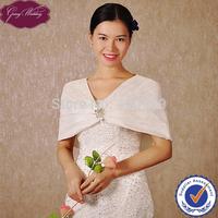 GoingWedding Latest Fashion Design Soft French Lace With Satin Lining Ladies Bridal Wraps Wedding Bolero Jacket LJ0010