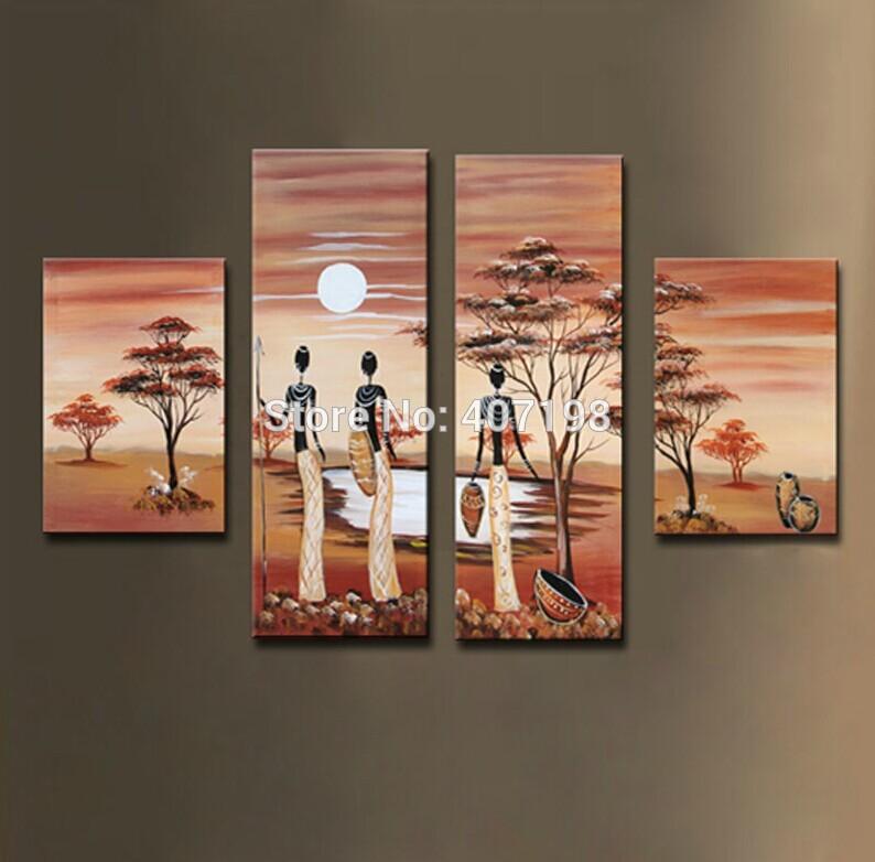 Geplakt muur decoratief schilderen unfinish afrikaans landschap figuur