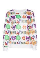 2015 New Printed Sweatshirt Hoodies Emoji Women Pullover Fashion Emoji Print White Women Sweatshirt Casual Suit Track Suits