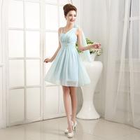2015 New Short V-neck Chiffon Summer Dress Bridesmaid Dresses Fashion Formal Ball Gown Mini Bandage Dress Spring free shipping