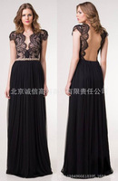 2014 New Women sexy women black v neck long lace dress sleeveless hollow out dress celebrity evening floor length Party Dresses