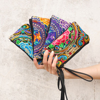 Retro Women Flower Wallet Purse Zipper Handbag National Embroidered Phone Change Coin Holder Double-layer Bags