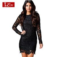 ECW NEW 2015 Women Lace Dress European Style Fashion Slim Chiffon Splice Net Sexy Dress Backless Evening Dress