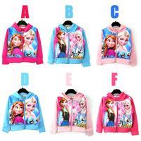 2015 spring autumn new arrival girls and boys cartoon Frozen hooded kids zipper jacket 1105