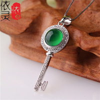 S925 Sterling Silver Pendant natural ice green chalcedony Pendant in sterling silver key wholesale