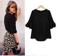 2015 Spring&Summer Women Shirts Half Flare Sleeve O-Neck chiffon BlousesT Shirt tops for women