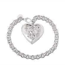 Hot Sale!Free Shipping 925 Silver Bracelets & Bangles,Fashion Sterling Silver Jewelry,white heart Bracelet SMTH347(China (Mainland))