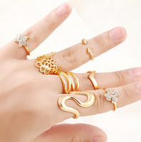 Wholesale 7pcs/lot gold plated midi set stacking rings fashion men Ring women jewelry