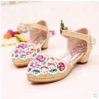 Promotion Summer big girl princess shoes childdren dance shoes closed toes female high-heeled sandals for kids girls size 26-37