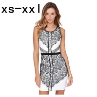 XS-XXL Spring And Summer New Arrived Dress Of Women Fashion Lace Patchwork Racerback V-neck Slim Tight Hip Vest One-piece Dress