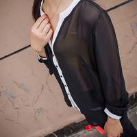 Free Shipping 2015 Women Blouses Spring Autumn Long Sleeve V-Neck Shirts Women Chiffon Blouse Casual Tops Women Blusas Femininas