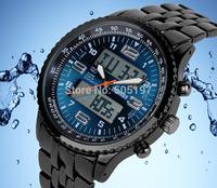 Zinc alloy 30 meters waterproof wristwatch analog digital running watch steel strap EL backlit casual quartz women men stopwatch