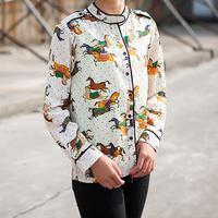 Free Shipping 2015 Women Blouses Spring Autumn OL Long Sleeve Shirt Women Horse Printed Shirts Casual Blouse Plus Size Blusas