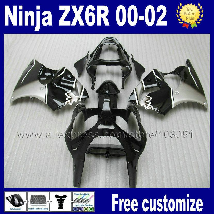 7 gifts Custom free fairing kitfor 2000 2001 2002 ninja kawasaki ZX6R 636 00 02 ZX 6R 01 black silver body repair fairings parts(China (Mainland))