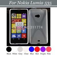 100pcs/lot Free Shipping Anti Skid X Line TPU Gel Skin Case Cover for Nokia Lumia 535
