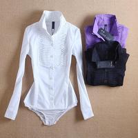 Free Shipping 2015 Women Blouse Fashion Ruffles Shirts Women Bodysuit Long Sleeve Stand Collar Slim Body Shirt Blusas Plus Size