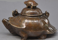 bronze copper animal Turtle Wine Tea Pot Flagon Claret Jug lucky statue