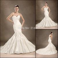 Top Grade New Elegant Backless Sweetheart Mermaid Corset With Pleating Tassel Train Wedding Dress Bridal Dresses 2015