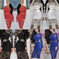 2014 new women fashion flower 2 pcs lace dress knee length bodycon vintage dress Casual women Dresses vestido de renda
