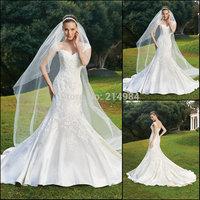 Vestidos de Novia 2015 New Fashion Elegant Mermaid Cap Sleeve Chapel Train Backless Bridal Gown Wedding Dress