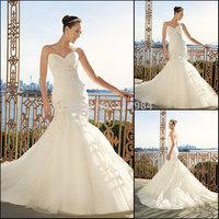 Vestido De Noiva 2015 Sweetheart Organza Wedding Dress Elegant Mermaid Bridal Dresses Chapel Train Vestido De Casamento