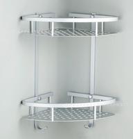 Space Aluminum Bathroom Dual tier Triangle Corner Shelf Storage Racks Metal Hanging Washroom Accerories House Ornamentation