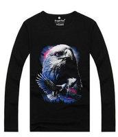 Hot 2015 Summer Autumn Fashion Long-sleeve Sweatshirt Men Women Personality Streetwear 3D Eagle T Shirt Hip Hop Lycra T-Shirt
