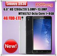 "Original Lenovo note8 A936 4G LTE Phone 6.0"" IPS 1280x720p MT6752 Octa Core 5.0MP 13.0MP Dual Camera Dual SIM"
