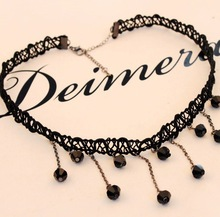 Korean jewelry Black Lace Crochet Necklace drops DIY clavicular chain tassel wholesale FREE SHIPPING