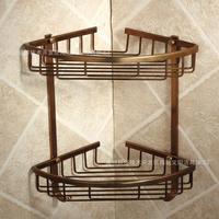 Bathroom Shelf Space Aluminum Dual tier Triangular European Antique Washroom Storage Basket Shelves  Quality Free shipping