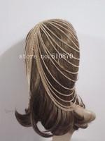 2015 Punk Design Women's Fashion Head Chain Pieces Metal Chain Hair Head Wrap Jewelry Full hair Accessoies