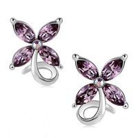 Free shipping Amethyst 99 sterling silver earrings ear stud