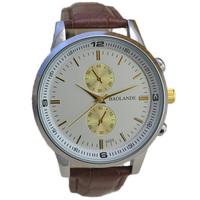 fashion gold top luxury man watch 2015 new small dial decoration japan quartz men wristwatch 2 color brown black good quality