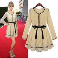2015 new fashion European autumn women dress temperament Slim was thin casual dress long-sleeved lace dress  F88