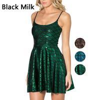 2015 casual dress Black Milk women dress  bright galaxy printing new pleated Dresses F88