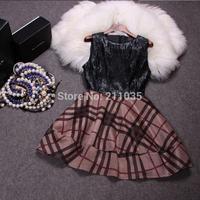D50 Female autumn winter plus size British style o-neck sashes PU plaid splice Hedging thicken slim tank Suede dresses B01