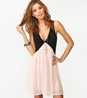 2015 new casual dress hit color stitching hollow back women dress V-neck sleeveless chiffon vest dress F88