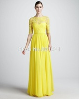 2015 Best selling A-line Floor Length Yellow Lace Chiffon Modest Long Sleeves Bridesmaid Dresses