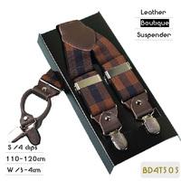 BD4T505 Fashion Plaid elastic casual suspender, male strap , leather sling, party braces,4 clips 4 colors ,110/120cm length