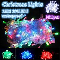 Free shipping. 110 v / 220 v Christmas lights, 10M 100leds waterproof lamp(yellow/blue/ green/white/powder/purple/RGB) 30PCS