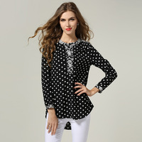 2015 New  Women Plus Size Long Sleeve Spring Vintage Blouses Blusas Femininas Casual Loose Office Work Wear 4XL Shirts Tops