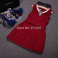 D50 Female autumn winter plus size lace Diamond Crochet  Sequins Necklace Hedging thicken slim woolen dresses B01 GD1180