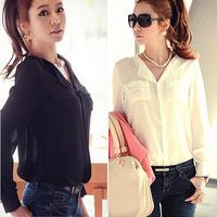 2014 New Summer Autumn Women Chiffon Blouse Women V-neck Long Sleeve Tops Casual Shirts Cream And Black Wholesale B-2073