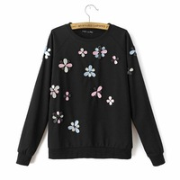 2015 O-Neck Hoodies Inlaid Multicolored Gems Sweatshirt Women Casual Long Sleeve Joker Sweatshirts A042